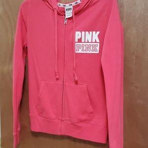 Pink zip up sweater